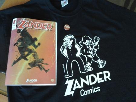 Camiseta, revista y chapa de Zander Magazine
